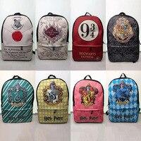 New Harry Potter Schoolbag Harry Potter Hogwarts College Backpack Anime Cartoon PU Printed Student School Bag Leather Backpack
