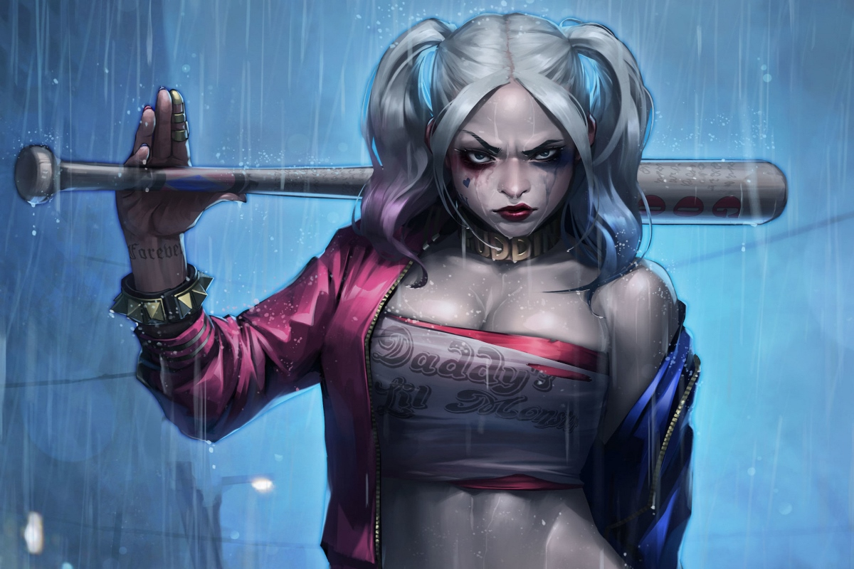 quinn margo robbie suicide squad fan art cool girl in rain QR42 Room living room home wall art decor wood frame fabric posters