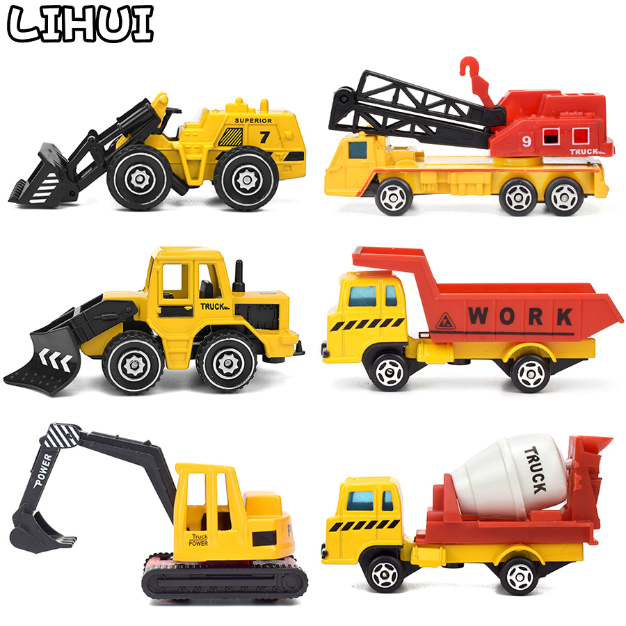 6 Kinds Mini Alloy Engineering Car Model Toys For Kids Sliding Vehicles Excavator Truck Model Classic Toy Vehicles Gift For Boys