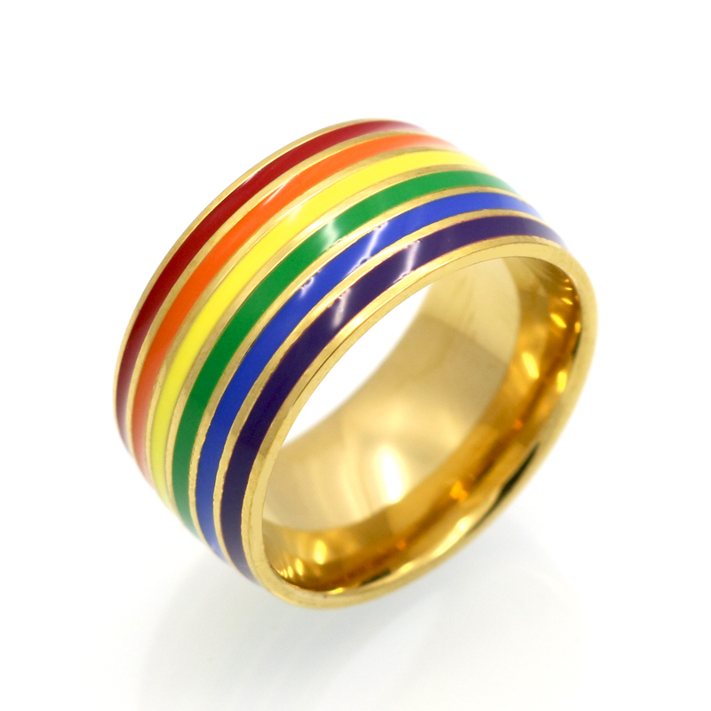 fashion classic men women rainbow colorful ring titanium steel wedding band ring width 10mm size 6 12 gift wholesale jewelry