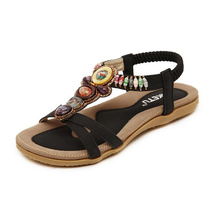 2017 Women's shoes Bohemia summer sandal shoes pinch the new Beaded flowers flat han edition with beach shoes woman sandals z468