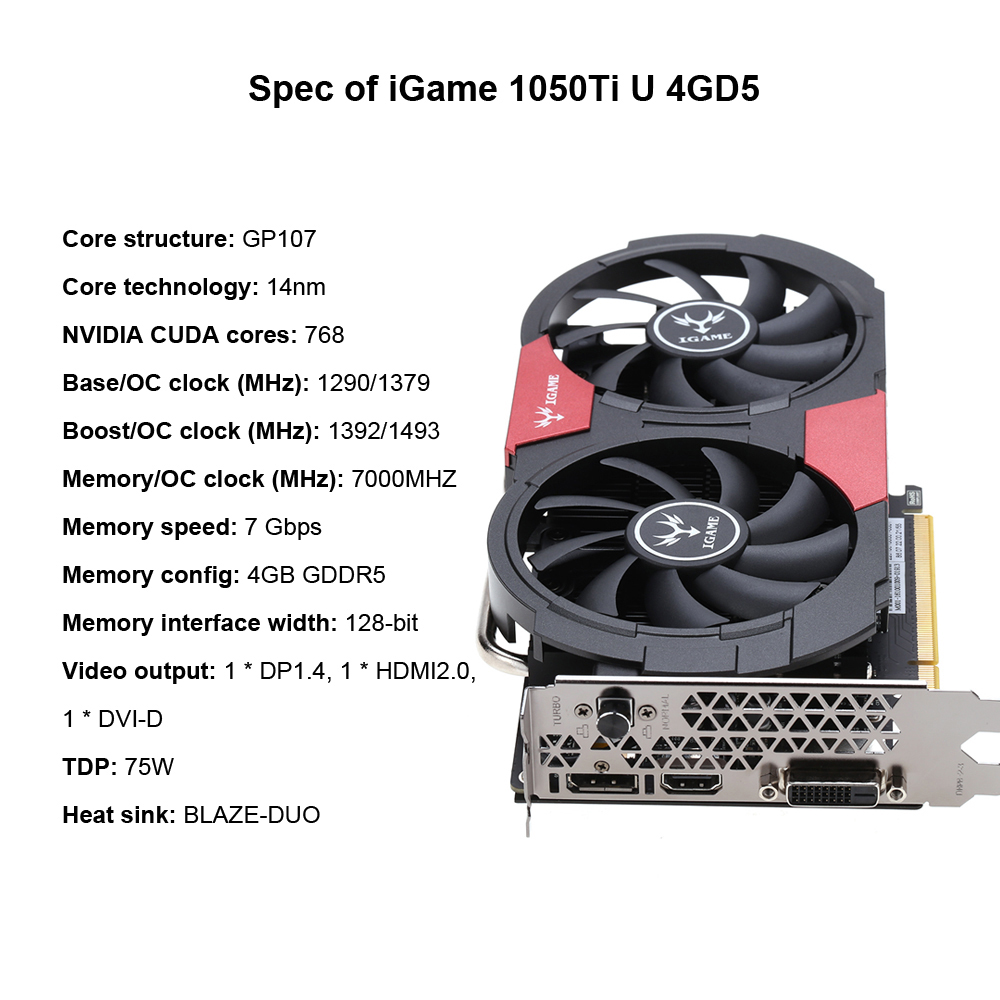 Colorful NVIDIA GeForce GTX 1050Ti 1050 ti GPU 4GB GDDR5 128bit Gaming  Video Graphics Cards For Desktop Computer than 960 750Ti-in Graphics Cards  from ...