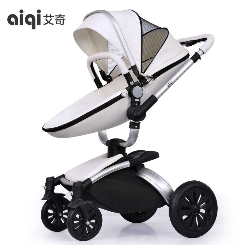 Baby stroller aiqi leather two-way four wheel baby car shock absorbers folding trolley brand baby strollers baby wheels