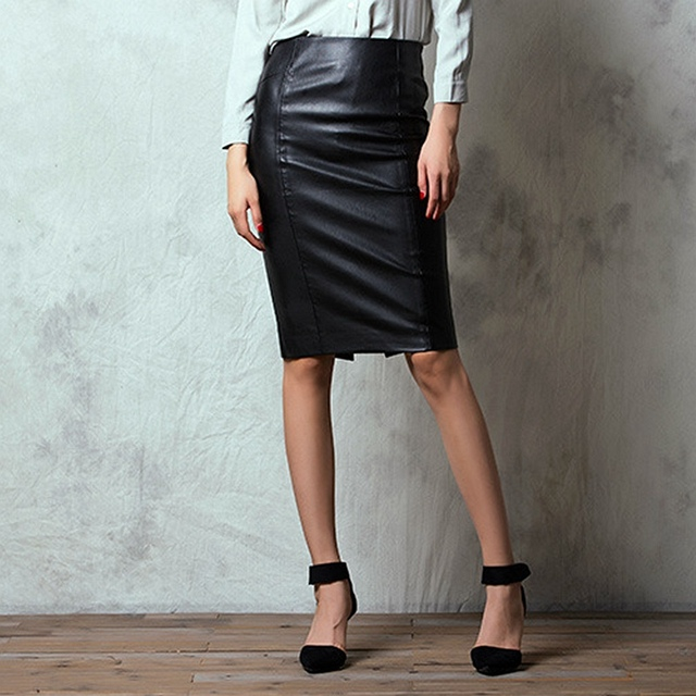 d9fef07bdc xiM&M@ch Autumn Office Lady PU Leather Skirts Side Zipper Back Slits  Package Hip Pencil Skirt Black Faux leather Skirt SK09155D