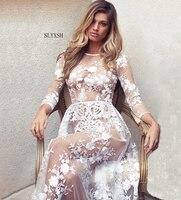 ファッション新しいレースマタニティドレスガウン結婚式パーティードレス妊婦長いoネックレースドレス母性長袖服