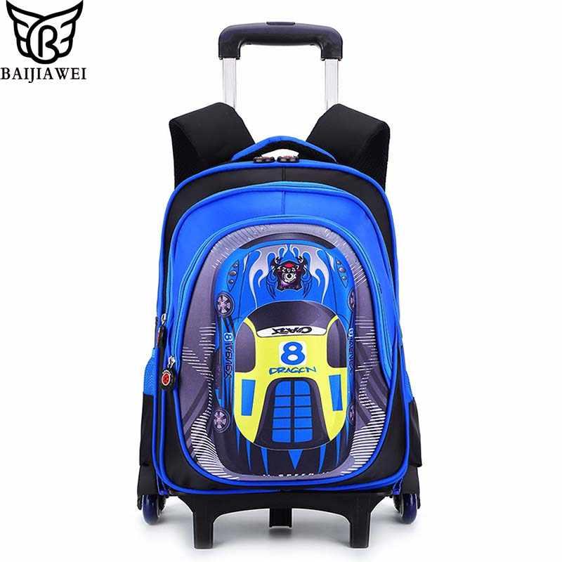 BAIJIAWEI Children 3D Car Cartoon Trolley Bag Six Wheels Climb Stairs Backpack Primary School Boys Book Bags Wheeled Bag