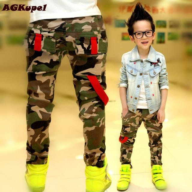 New 2018 Autumn Teens Jeans For Boy Camouflage Baby Boys Jeans Pants Designer Kids Jean Children's Elastic Waist Denim Long Pant