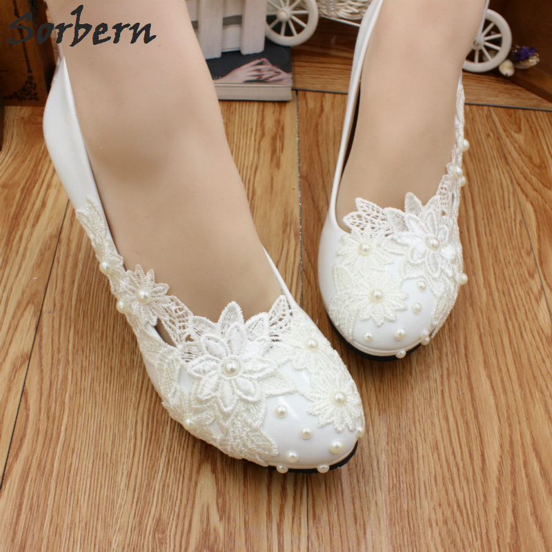 Aliexpress.com : Buy Sorbern White Lace Wedding Shoes