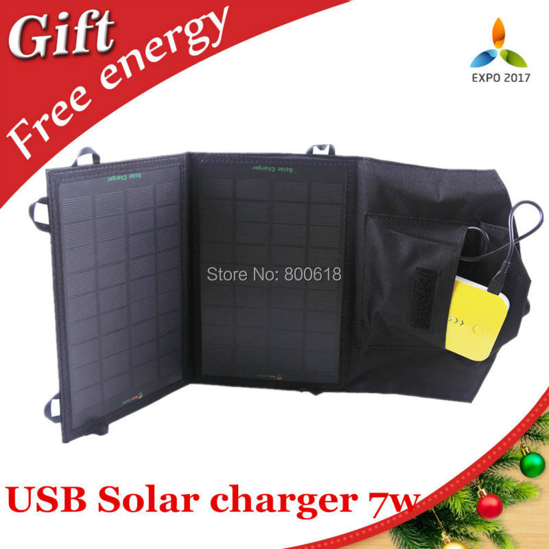 7W Foldable Solar Panel Portable Solar Charger for Smartphones/GPS/eReaders/Gopro Camera and Other 5V USB-Charged Devices