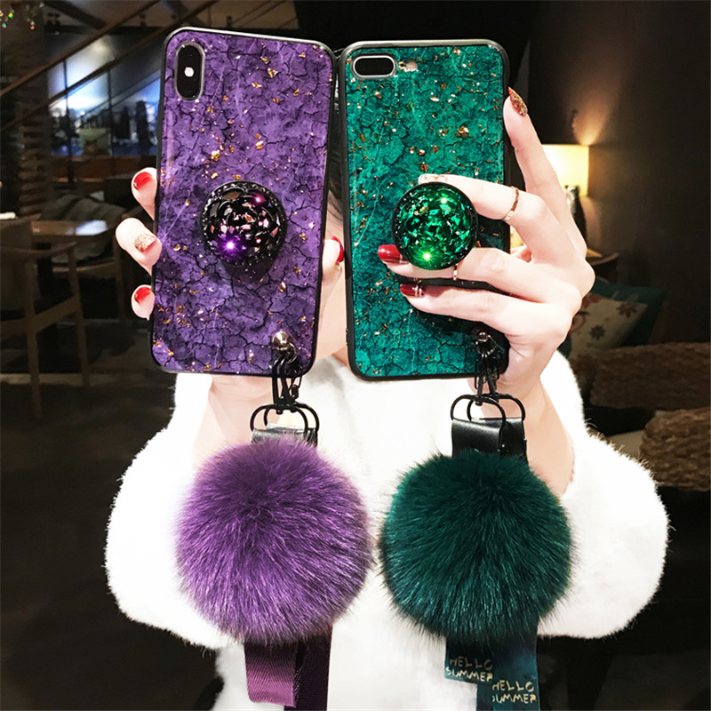 For Samsung Galaxy M10 M20 M30 A10 A20 A30 A40 A50 A70 A90 Marbled 3D Shiny Diamond Stand Fashion Hair Ball Lanyard Cover Case