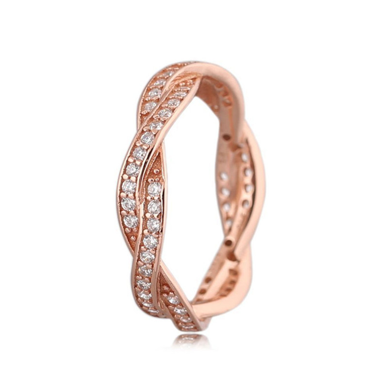Trendy 925 Sterling Silver Rose Love Eternal Braided Pave Zirconia Ring For Women Wedding Engagement Gift Fine Pans Jewelry in Wedding Bands from Jewelry Accessories