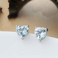 925 pure silver natural heart stud earring blue gem earring