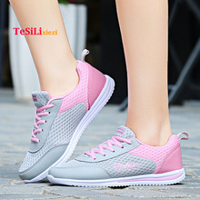 Breathable Mesh Flats Shoes Woman Comfortable Cheap Casual Ladies Shoes Lace-Up Platform Sneakers Slip On Female Footwear 2018