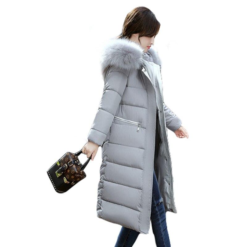 2018 New Fashion Big Fur Thick Winter Jacket Women Long Down   Parkas   Female Slim Warm Winter Hooded Coat Ladies Jacket Outwear