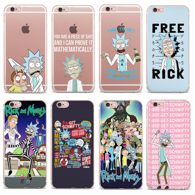 reputable site a8ac2 5be2e US $1.03 30% OFF|Rick And Morty Soft silicone TPU Cover For iPhone X 8  8Plus 7 7Plus 6 6S 5S SE ultrathin Phone Case For iPhone 7Plus Funda  Capa-in ...
