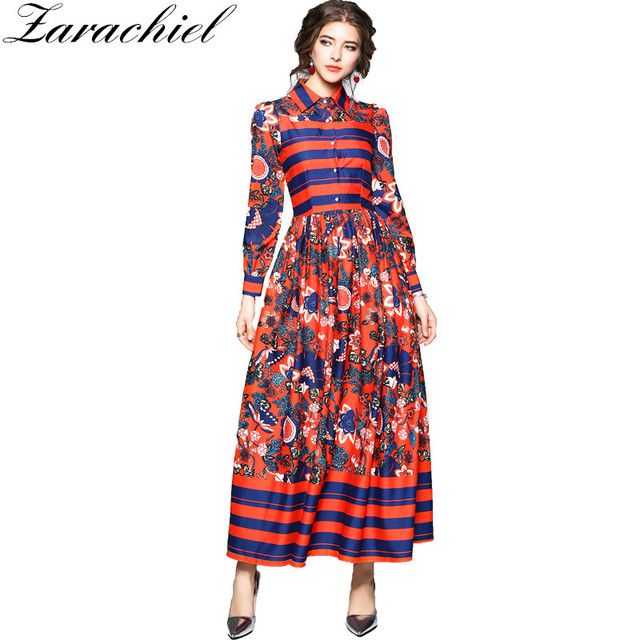 Ethnic Style Striped Flower Print Fl Maxi Dress 2018 Spring Women Long Sleeve Turn Down Collar