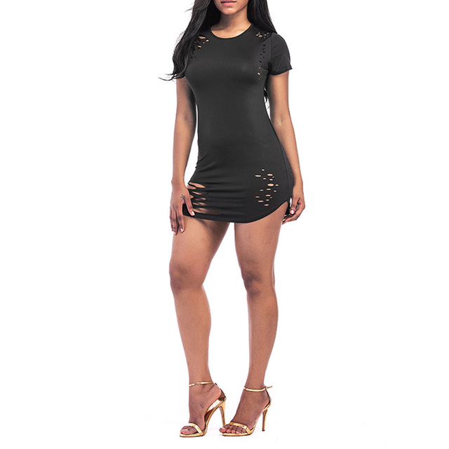 401033dba695f Hole Asymmetric T-Shirt Women Plus Size Sexy Hollow Out Long Tops Short  Sleeves Irregular Solid Summer Casual Tees Female 40%Y