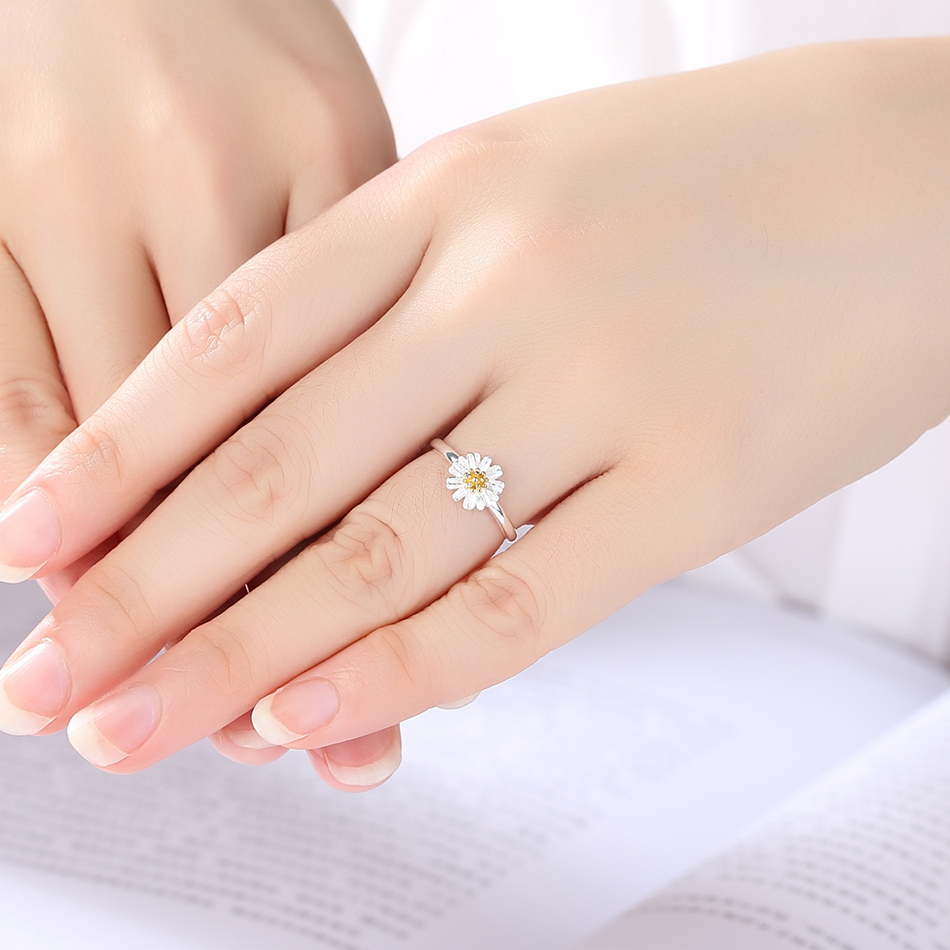 Belawang fashion silver rings authentic 925 sterling silver enamel belawang fashion silver rings authentic 925 sterling silver enamel daisy flower open finger rings for women wedding jewelry in wedding bands from jewelry izmirmasajfo