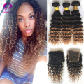 Indian curly hair with closure 3 Bundles with Lace closures Ombre Virgin Curly Hair Dark Drown Deep curly with Lace Closure