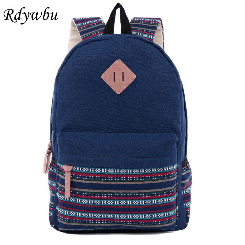 Rdywbu National Tribal Ethnic Embroidered Multifunction Canvas Backpack Female Teenage Travel Backpack Leisure Daily Unisex H102
