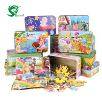 Wooden Puzzles 60 Pieces Child S Iron Box Jigsaw Puzzle Toddlers Educational Toys For Children Kids