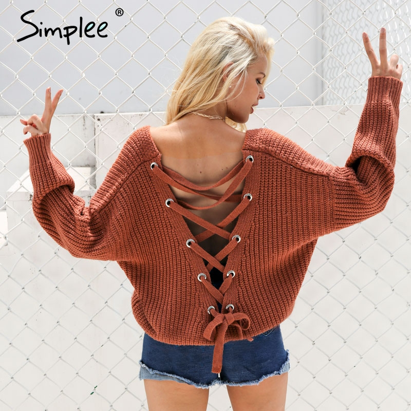 Simplee Sexy backless knitting pullover moda encaje hasta otoño invierno suéter mujeres tops Casual hollow out jumper pull femme