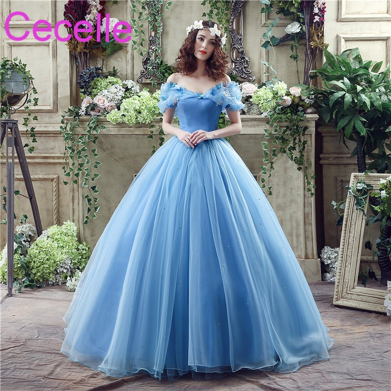 Blue Ball Gown Princess Wedding Dresses 2019 Off the Shoulder Corset Back  Non White Colorful Bridal Gowns Custom Made Real Photo a827d977c00f