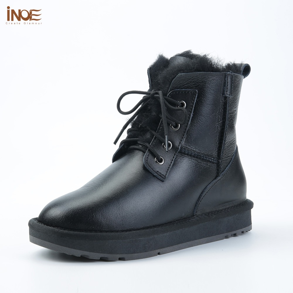INOE Sheepskin Leather Shearling Wool Fur Lined Women Ankle Winter Boots for Women Casual Short Snow Boots Warm Waterproof Black