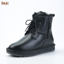 Winter Boots Lined Sheepskin INOE Shearling Warm Black Women Ankle Waterproof Casual