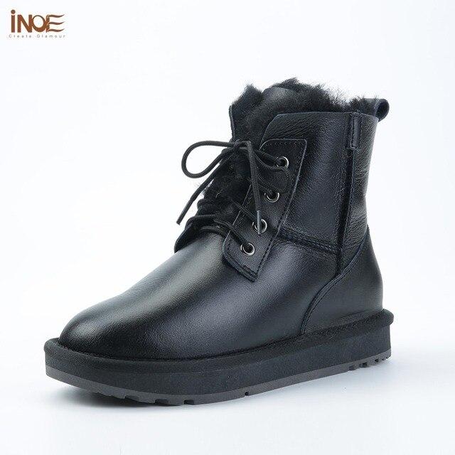 INOE Sheepskin Leather Shearling Wool Fur Lined Women Ankle Winter Boots for Women Snow Boots Casual Warm Waterproof Black