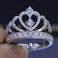 Женщины Корона кольцо Ручной Работы 1.5ct Имитация алмазный Cz Стерлингового Серебра 925 Обручальное Кольцо Обручальное Кольцо для женщин Подарок