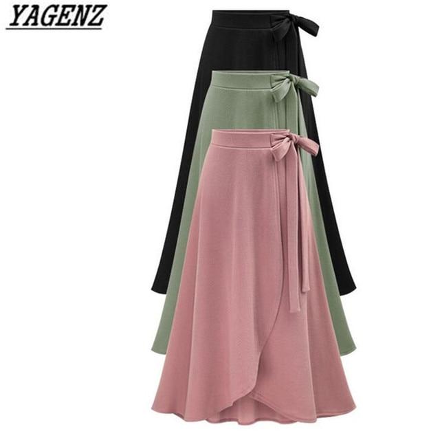 6d42869b4e YAGENZ 6XL Large size Ladies Skirt Spring Summer New Black High waist  Pleated Long skirt Lady Elegant Irregular Big Swing Skirt