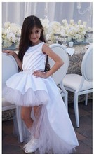 MGS Princess White Sleeveless Tank Flower Girl Dresses 2016 A Line High and Low Floor Length Kids Wedding Party Dress