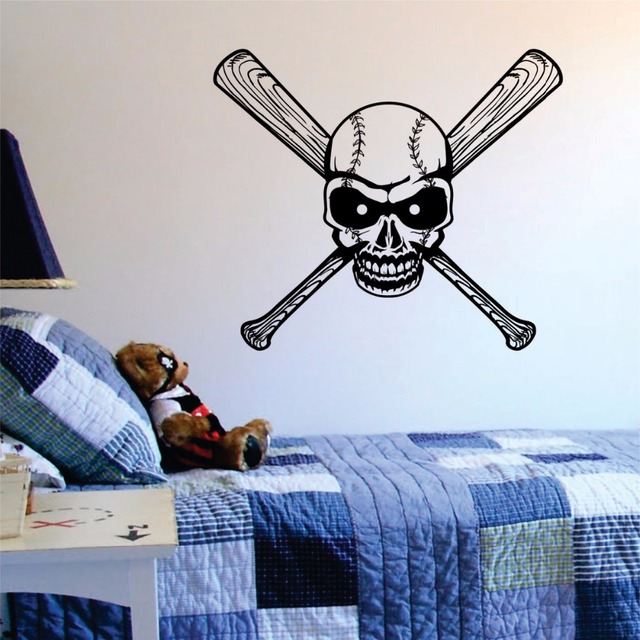 Baseball Skull Bats Wall Decals Sports Vinyl Wall Art Stickers For Kids Rooms Living Room Home & Baseball Skull Bats Wall Decals Sports Vinyl Wall Art Stickers For ...