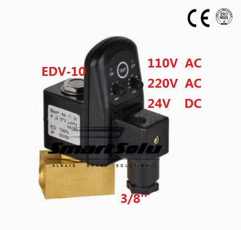 Free Shipping High Quality 3/8'' Female Thread Electronic Timer Drain Off Solenoid Valve 24-230VAC/DC Model EDV-10 5PCS In Lot 5pcs lot [ electronic ] 100