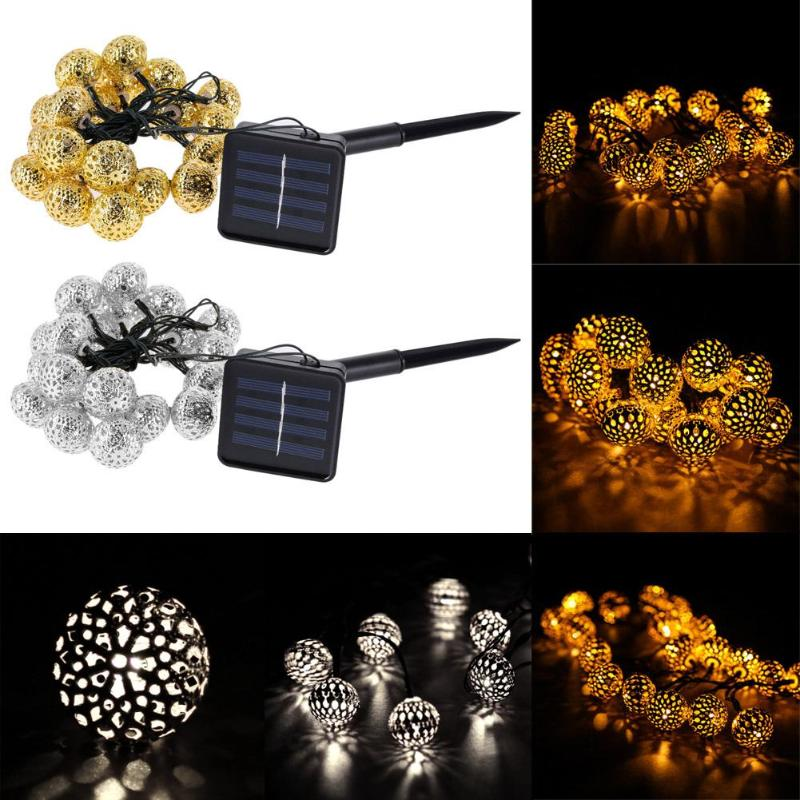 Waterproof Solar Power 20 LED Lights For Garden Tree Wedding Decoration String Fairy Ball Party Light Garland Outdoor Light ...