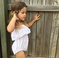 Babys Sin Tirantes Body Blanco Ahueca Hacia Fuera La Princesa Unsuit Niño Ropa Chicas Ruffles Lindo Mono de La Manera Al Por Mayor