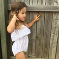 Babys Strapless Bodysuits White Hollow Out Princess Unsuit Toddler Clothes Girls Ruffles Cute Fashion Jumpsuits Wholesale