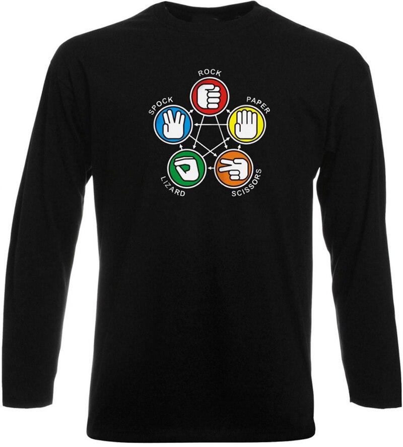 2017 New Arrival Mens T Shirt Big Bang Theory Sheldon Rock Paper Scissors Spock Cool Geek Long Sleeve T-Shirt Euro Size S-3XL