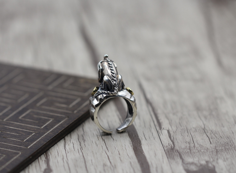 Thai Silver Personality mens Open Index Finger Ring Lucky Clothing Brave Embroidered 925 Sterling Silver Ring