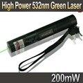 Laser 301 532nm 200 mW de Alta Potência Caneta Ponteiro Laser Verde zoomable Fósforo Aceso Lanterna A Laser