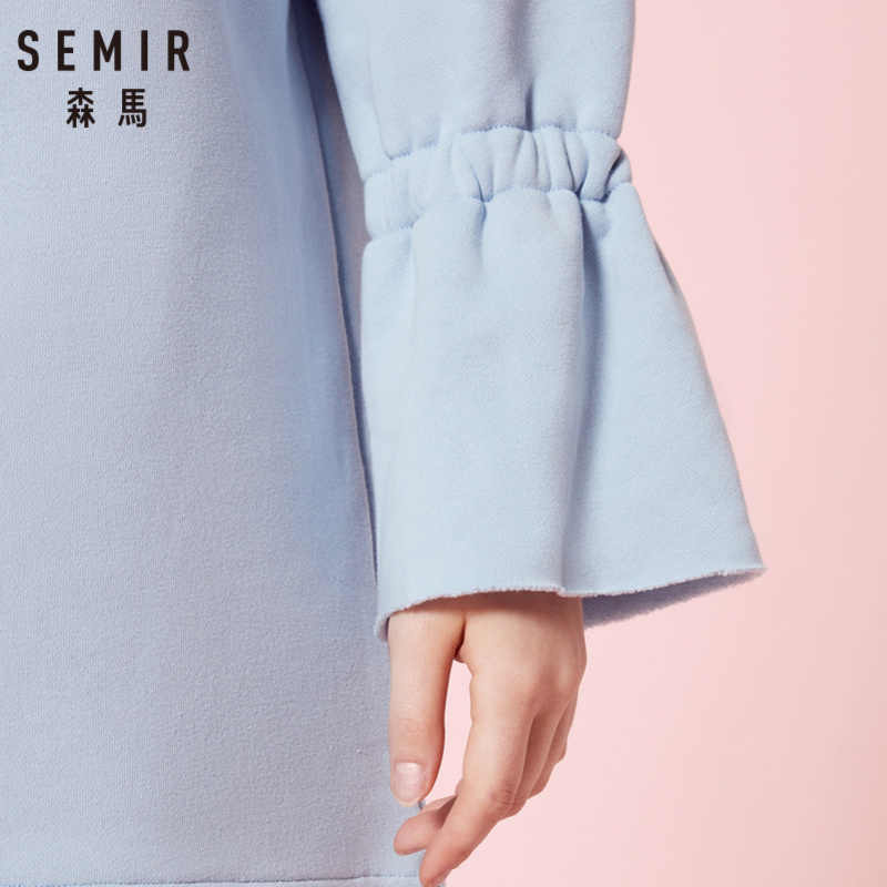 SEMIR женское платье-толстовка с капюшоном и длинным рукавом, платье с капюшоном на молнии, платье с капюшоном на подкладке, эластичные разрезы на манжетах сбоку