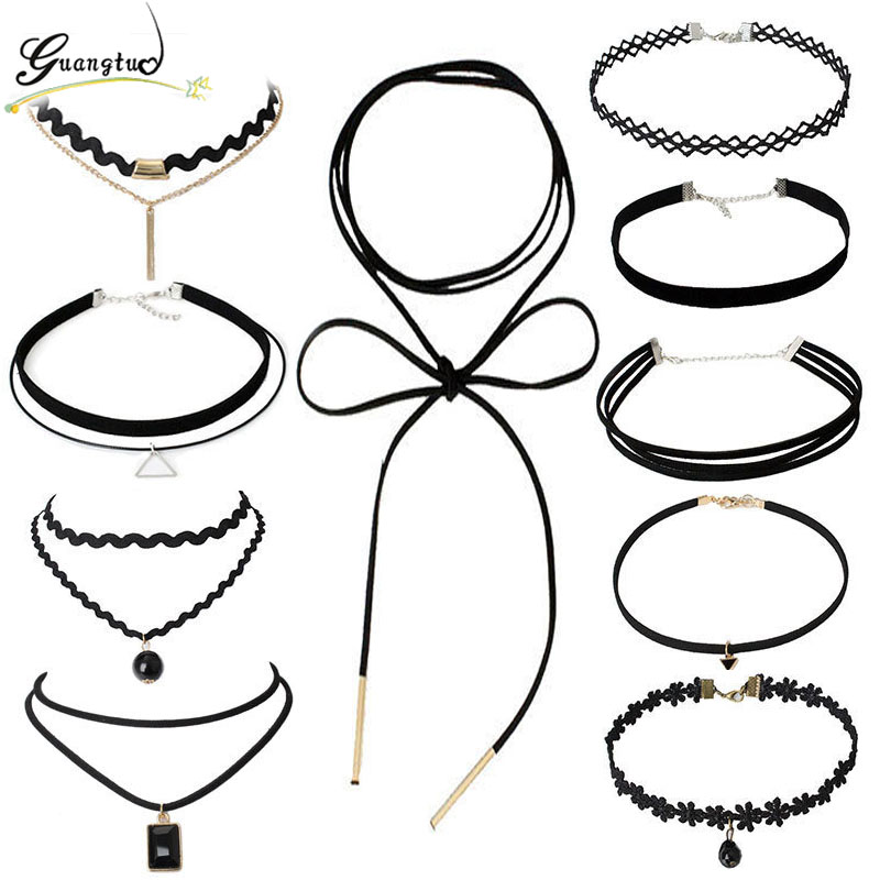 Punk Gothic Black Bead Geometry Triangle Black Velvet Clavicle Chocker Necklace Set For Women Fashion Jewelry