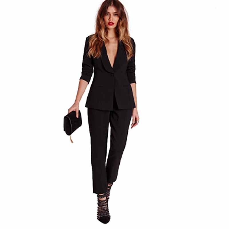 aa69c10efc Haoduoyi negro pantalones de oficina conjunto femenino Casual ...