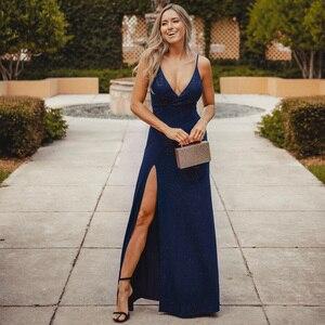 Image 2 - Ever Pretty 2020 Sexy Navy Blue Prom Dresses Sexy V Neck Sparkle Leg Slit Long Simple Elegant Formal Party Gowns Abendkleider