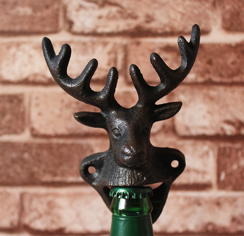 Rustic Bear Beer Soda Bottle Opener Cast Iron Lodge Cabin Wall Mounted Pub Bar