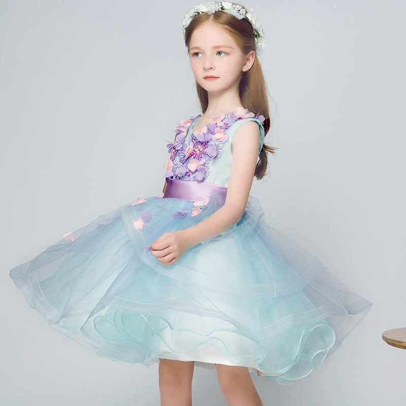 Pearls Mesh Girls Dress Children Wedding Party Dresses for Girl Evening Ball Gown Kids Formal Baby Frocks Clothes High Quality