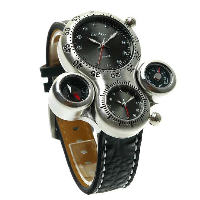 Oulm Brand Mens Casual Leather Strap Sport Quartz Watch Dual Time Zone Compass Thermometer Decorate Wristwatches With Gift Box