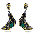 Vintage women Earrings black & gold plated with Cubic zircon drop Earrings party fashion jewelry free shipment