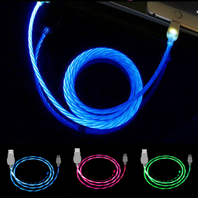 Led USB Cable Flash Light Lamp Up Data Line Mobile Phone Charger For IPhone Samsung Xiaomi Huawei Android Type-C 1M Cable